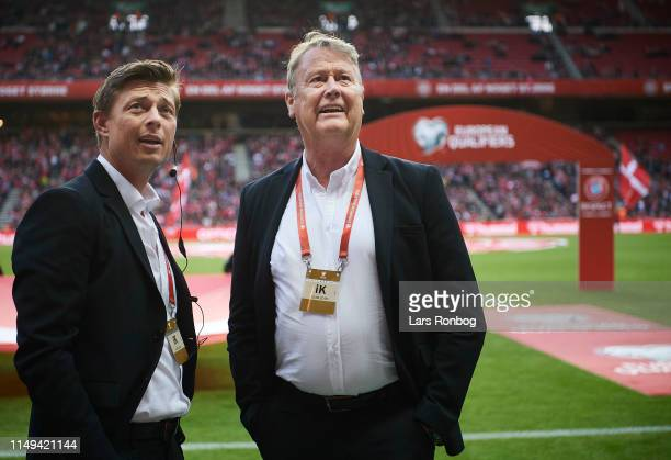 Jon Dahl Tomasson assistant coach of Denmark and Age Hareide head coach of Denmark on the pitch prior to the UEFA Euro 2020 Qualifier match between...