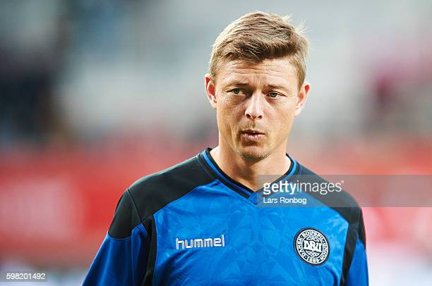 Jon Dahl Tomasson assistant coach of Denmark looks on prior to the international friendly match between Denmark and Liechtenstein at Casa Arena on...