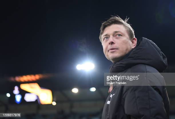 Jon Dahl Tomasson, head coach of Malmo looks on during the UEFA Europa League round of 32 second leg match between Malmo FF and VfL Wolfsburg at...