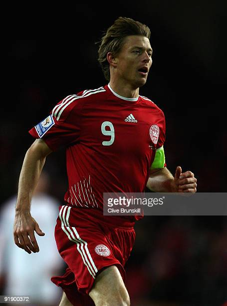 Jon Dahl Tomasson of Denmark in action during the FIFA 2010 group one World Cup Qualifying match between Denmark and Hungary at the Parken stadium on...