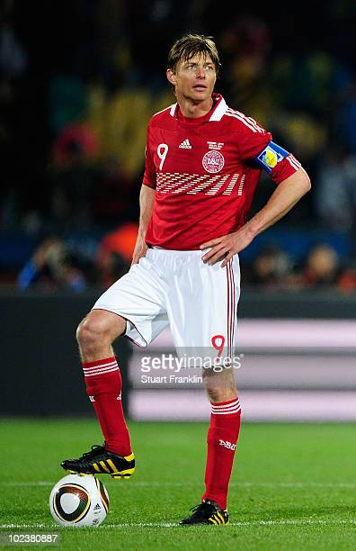 Jon Dahl Tomasson of Denmark looks on after the first goal by Japan during the 2010 FIFA World Cup South Africa Group E match between Denmark and...