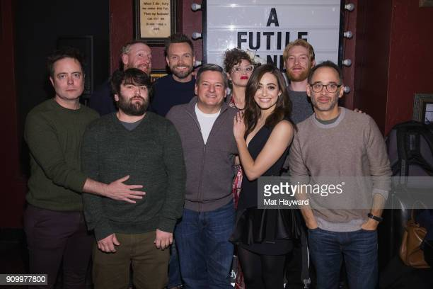 Jon Daly John Gemberling Matt Walsh Joel McHale Netflixs Ted Sarandos Elvy Yost Emmy Rossum Domnhall Gleeson and Director David Wain attend the 'A...