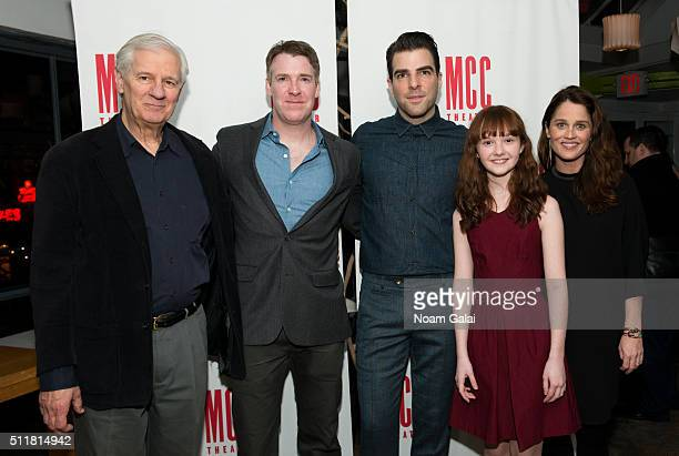 Jon DeVries Brian Hutchison Zachary Quinto Taylor Richardson and Robin Tunney attend the 'Smokefall' opening night after party at SushiSamba 7 on...