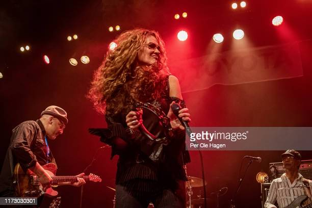 Jon Diamond Diana Fuchs and Walter Latupeirissa perform on stage at the Blues in Hell Festival on September 7 2019 in Stjordal Norway