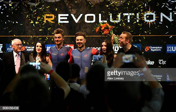 Jon Dibben and Owain Doull of Team Wiggins and Great Britain celebrate after winning the Elite Championship after Round 6 of the Revolution Series at...