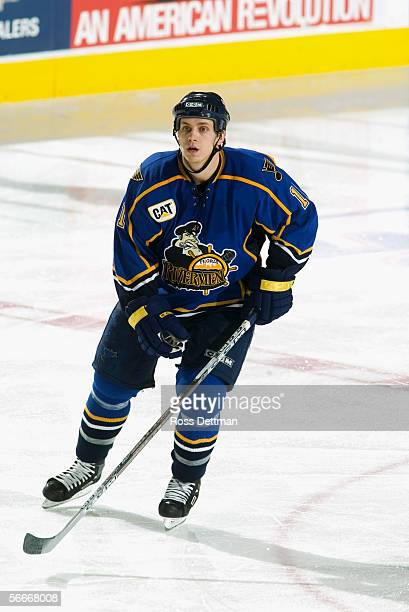 Jon DiSalvatore of the Peoria Rivermen skates against the Chicago Wolves at Allstate Arena on December 11 2005 in Rosemont Illinois The Wolves won 41