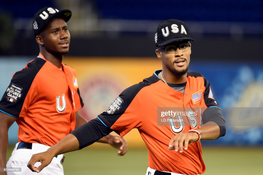 Jon Duplantier #29 of Team USA stretches prior to the SirusXM All-Star Futures Game at Marlins Park on Sunday, July 9, 2017 in Miami, Florida.
