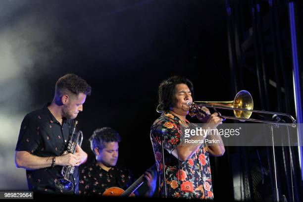 Jon Durbin and Michael Razo of The Suffers perform during the 2018 Festival International de Jazz de Montreal at Quartier des spectacles on July 1st...