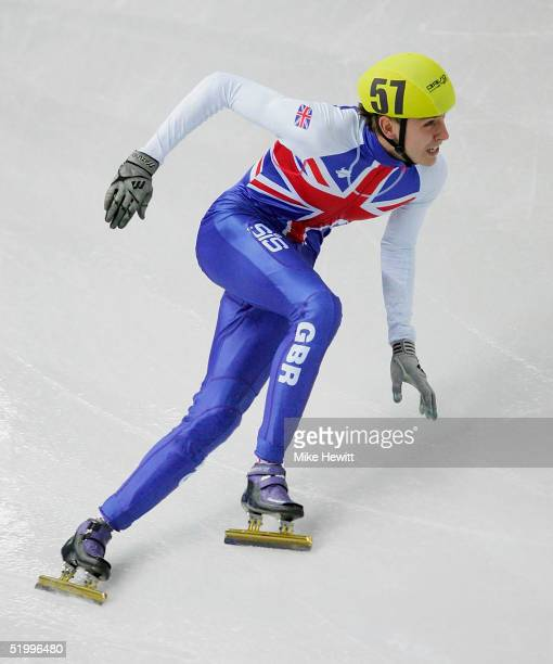 Jon Eley of Great Britain qualifies from the Mens 500m heats during the ISU European Short Track Speed Skating Championships at the Palavela arena on...
