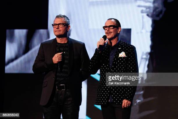 Jon Farriss and Kirk Pengilley present Illy with the ARIA for Best Live Act during the 31st Annual ARIA Awards 2017 at The Star on November 28 2017...