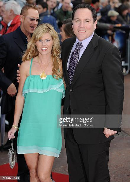 Jon Favreau and Joya Tillem arrive for the premiere of Iron Man at the Leicester Square Odeon cinema in London