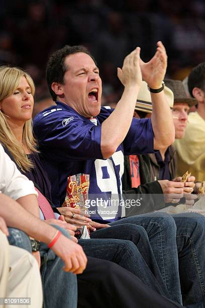 Jon Favreau and Joya Tillem attend the Los Angeles Lakers against Utah Jazz playoff game at the Staples Center on May 14 2008 in Los Angeles...