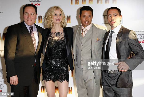 Jon Favreau, director, Gwyneth Paltrow, Terrence Howard and Robert Downey Jr attend the Iron Man film premiere held at the Odeon Leicester Square on...