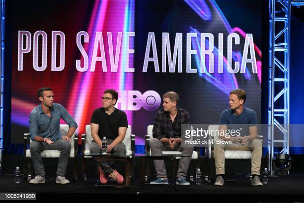 Jon Favreau Jon Lovett Dan Pfeiffer and Tommy Vietor of 'Pod Save America' speaks onstage during the HBO portion of the Summer 2018 TCA Press Tour at...