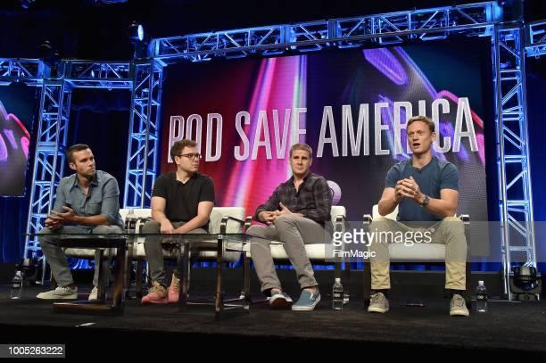 Jon Favreau, Jon Lovett, Dan Pfeiffer and Tommy Vietor speak onstage at HBO Summer TCA 2018 at The Beverly Hilton Hotel on July 25, 2018 in Beverly...