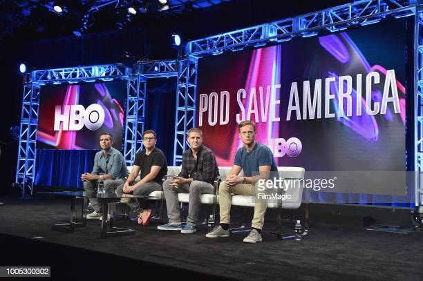 Jon Favreau Jon Lovett Dan Pfeiffer and Tommy Vietor speak onstage at HBO Summer TCA 2018 at The Beverly Hilton Hotel on July 25 2018 in Beverly...