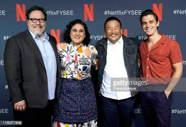 Jon Favreau, Samin Nosrat, Roy Choi and Antoni Porowski attend the Netflix FYSEE Food Day at Raleigh Studios on May 19, 2019 in Los Angeles,...