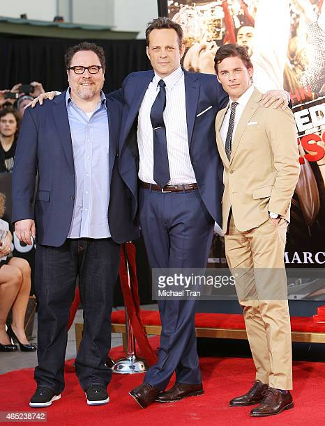 Jon Favreau, Vince Vaughn and James Marsden attend the hand and footprint ceremony honoring Vince Vaughn held at TCL Chinese Theatre IMAX on March 4,...