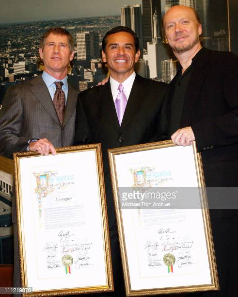 Jon Feltheimer, CEO of Lionsgate, Antonio Villaraigosa, Mayor of Los Angeles and Paul Haggis, director of CRASH