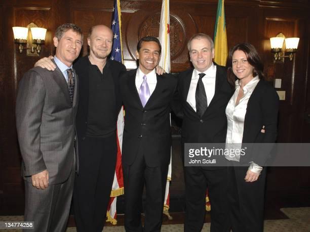 Jon Feltheimer, Lionsgate CEO, Paul Haggis, director, Mayor Antonio Villaraigosa, Bobby Moresco and Cathy Schulman, producer