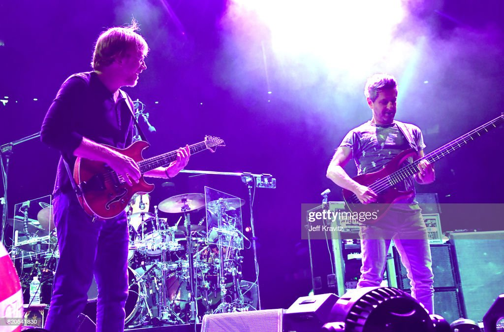 Jon Fishman and Mike Gordon of Phish perform at 'The Baker's Dozen' Tour Kick-Off at Madison Square Garden on July 21, 2017 in New York City.