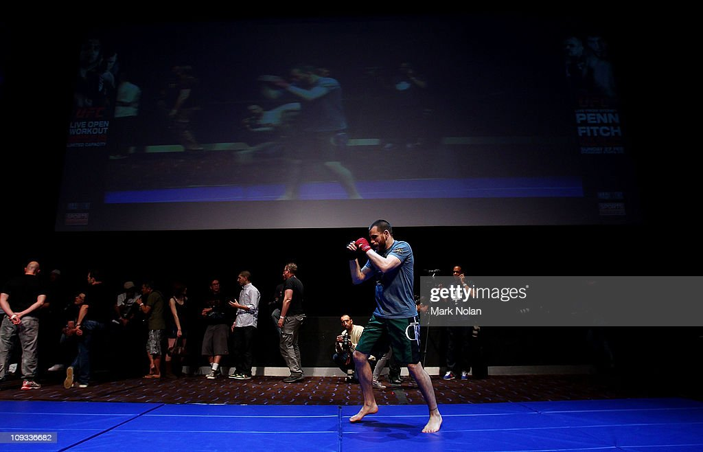 Jon Fitch spas during an Open Workout ahead of UFC Sydney 127 at Star City on February 22, 2011 in Sydney, Australia.