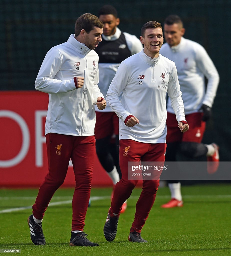 Jon Flanagan and Andrew Robertson of Liverpool during a training session at Melwood Training Ground on January 11, 2018 in Liverpool, England.