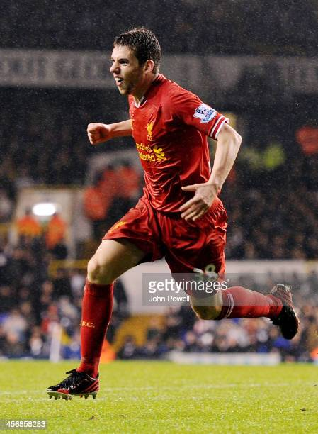 Jon Flanagan of Liverpool celebrates after scoring the third during the Barclays Premier Leauge match between Tottenham Hotspur and Liverpool at...