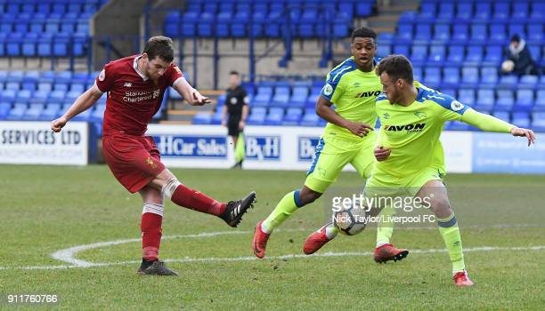 Jon Flanagan of Liverpool comes close during the Premier League 2 match between Liverpool and Derby County at Prenton Park on January 28 2018 in...
