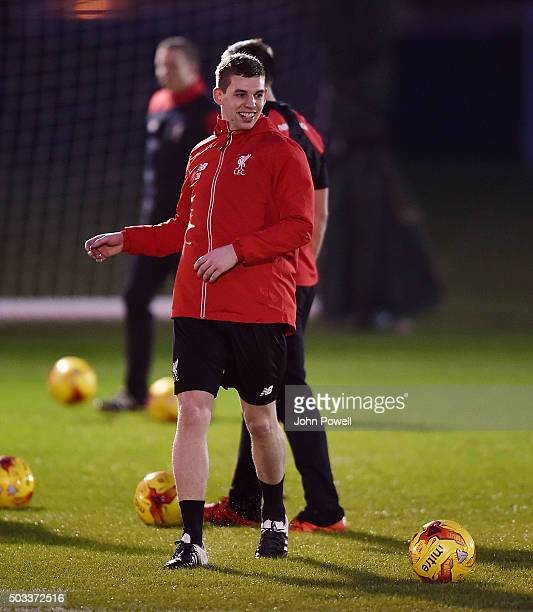 Jon Flanagan of Liverpool during a training session at Melwood Training Ground on January 4 2016 in Liverpool England