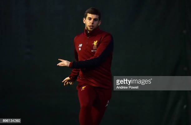 Jon Flanagan of Liverpool during a training session at Melwood Training Ground on December 20 2017 in Liverpool England