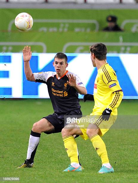Jon Flanagan of Liverpool during the UEFA Europa League match between FC Anzhi Makhachkala and Liverpool FC at Lokomotiv Stadium on November 8 2012...