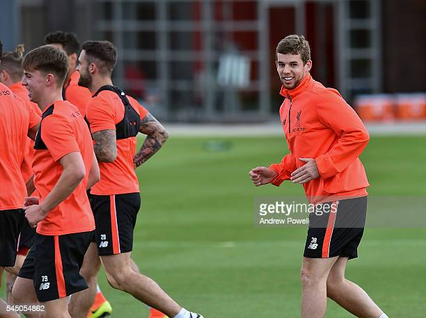 Jon Flanagan of Liverpool duringa training session at Melwood Training Ground on July 5 2016 in Liverpool England