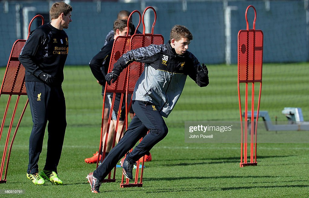 Jon Flanagan of Liverpool in action during a training session at Melwood Training Ground on March 24, 2014 in Liverpool, England.