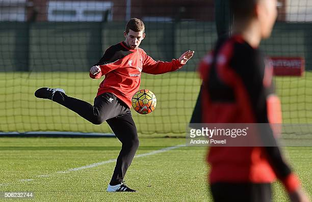 Jon Flanagan of Liverpool in action during a training session at Melwood Training Ground on January 22 2016 in Liverpool England