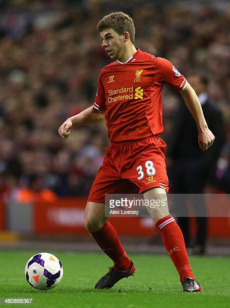 Jon Flanagan of Liverpool in action during the Barclays Premier League match between Liverpool and Sunderland at Anfield on March 26 2014 in...