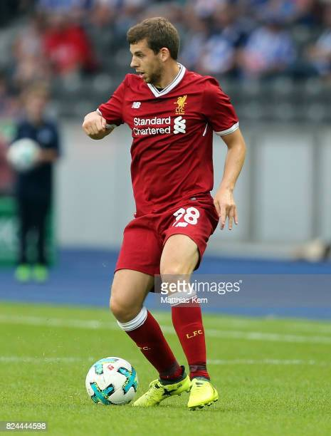 Jon Flanagan of Liverpool runs with the ball during the pre season friendly match between Hertha BSC and FC Liverpool at Olympiastadion on July 29...
