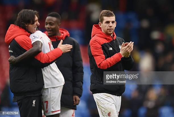 Jon Flanagan of Liverpool shows his appreciation to the fans at the end of the Barclays Premier League match between Crystal Palace and Liverpool at...
