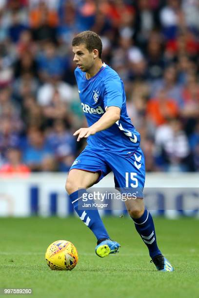 Jon Flanagan of Rangers in action during the UEFA Europa League Qualifying Round match between Rangers and Shkupi at Ibrox Stadium on July 12 2018 in...