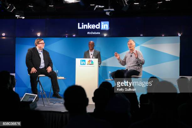 Jon Fortt CoAnchor of CNBC's Squawk Alley moderates a debate between LinkedIn CoFounder and Greylock Partner Reid Hoffman and Founder CEO of O'Reilly...