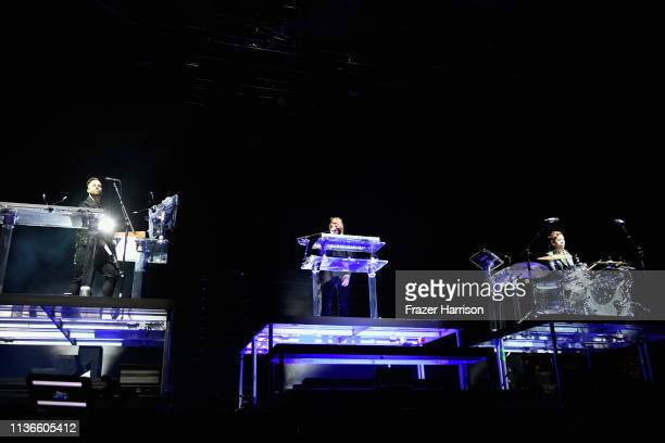 Jon George Tyrone Lindqvist and James Hunt of Rüfüs Du Sol perform at the Outdoor Theatre during the 2019 Coachella Valley Music And Arts Festival on...