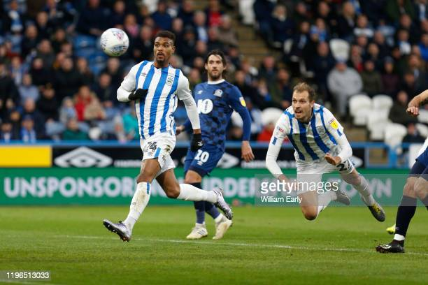 Jon Gorenc Stankovic of Huddersfield Town scores during the Sky Bet Championship match between Huddersfield Town and Blackburn Rovers at John Smith's...