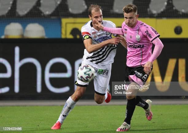 Jon Gorenc-Stankovic of Sturm Graz and Johannes Eggestein of Linz during the tipico Bundesliga match between SK Puntigamer Sturm Graz and LASK Linz...