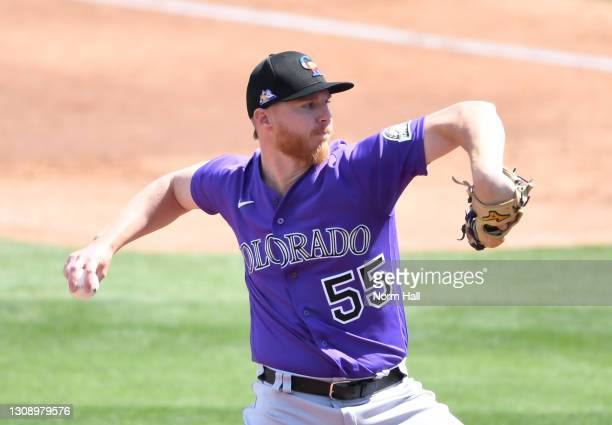 Jon Gray of the Colorado Rockies delivers a first inning pitch against the Milwaukee Brewers during a spring training game at American Family Fields...