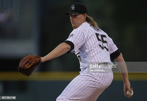Jon Gray of the Colorado Rockies delivers a pitch against the San Diego Padres in the first inning of a baseball game at Coors Field on September 17...