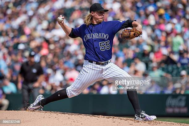 Jon Gray of the Colorado Rockies pitches against the Arizona Diamondbacks during a game at Coors Field on September 4 2016 in Denver Colorado
