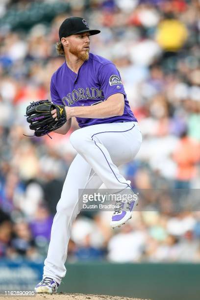 Jon Gray of the Colorado Rockies pitches against the Cincinnati Reds at Coors Field on July 12, 2019 in Denver, Colorado.
