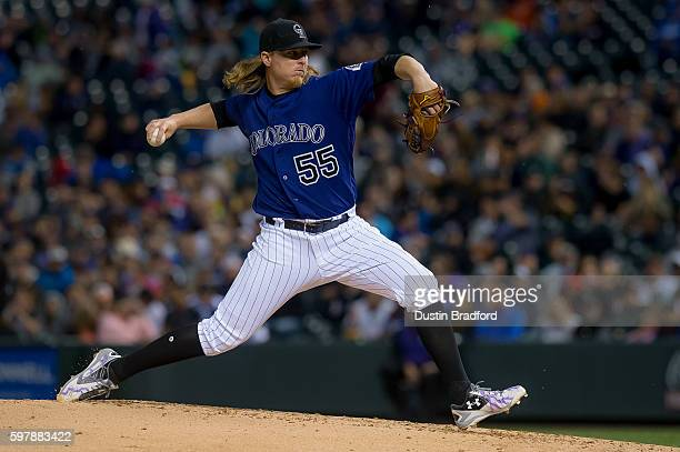 Jon Gray of the Colorado Rockies pitches against the Los Angeles Dodgers in the third inning of a game at Coors Field on August 29 2016 in Denver...