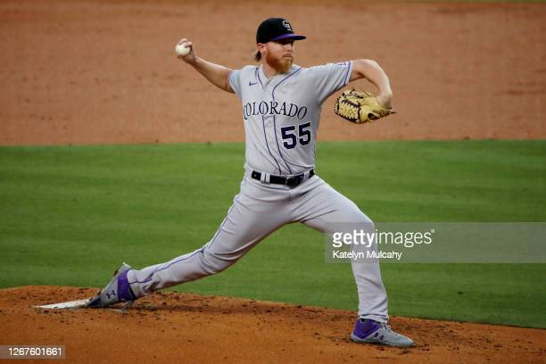Jon Gray of the Colorado Rockies pitches against the Los Angeles Dodgers during the second inning at Dodger Stadium on August 21, 2020 in Los...