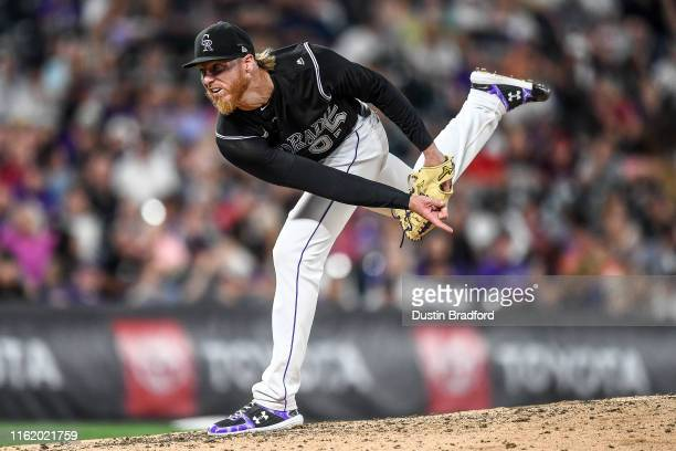 Jon Gray of the Colorado Rockies pitches against the Miami Marlins in the eighth inning of a game at Coors Field on August 16, 2019 in Denver,...